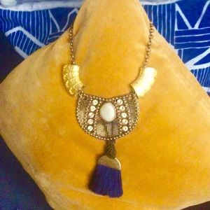 Festival Gold Brass and Ivory Ankh Necklace